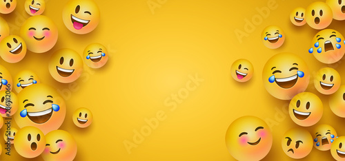Funny yellow emoticon face copy space background