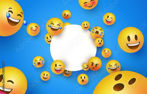 Fun yellow smiley icon white circle frame template Wallpaper Mural