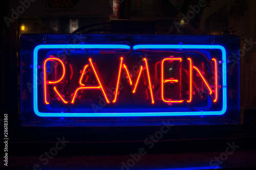ramen neon light sign red and blue