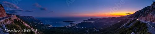 Budva riviera night coastline. Montenegro, Balkans, Adriatic sea. - 286184045