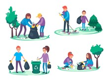 Boys And Girls Take Away Litter And Garbage. Environmental Cleanup Concept. Group Of People Making A Forest Or Park Clean Or Tidy. Ecological Vector Illustration Cartoon Flat Style.