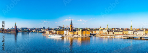 Stampa su Tela Gamla stan in Stockholm viewed from Sodermalm island, Sweden