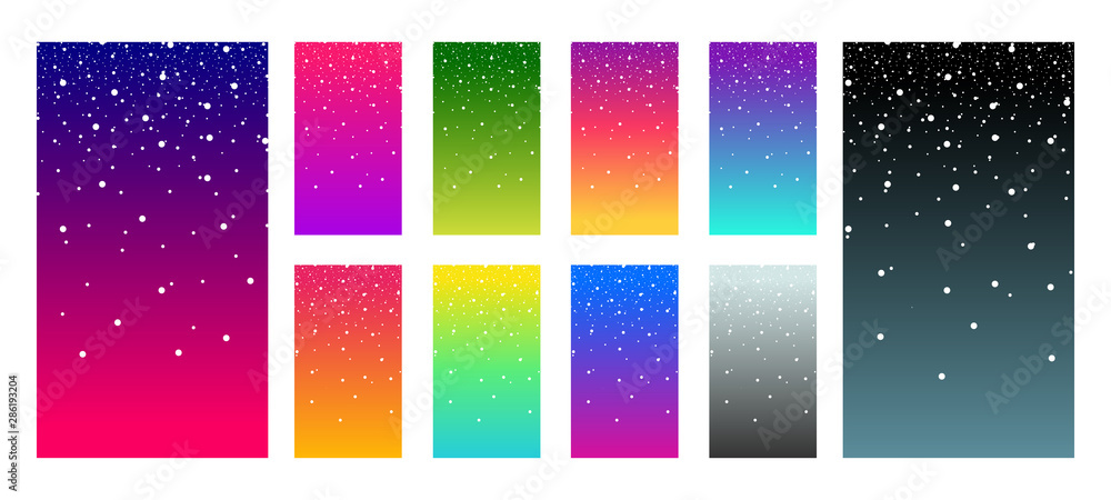 Fototapety, obrazy: Soft color vibrant gradient modern screen vector ux ui design palette for mobile. Living smooth colorful background set in trendy colors with snowflake. Festive event illustration