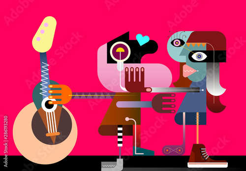 Two Women and a Guitar vector illustration