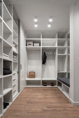 Nice modern dressing room in light tones Fototapet