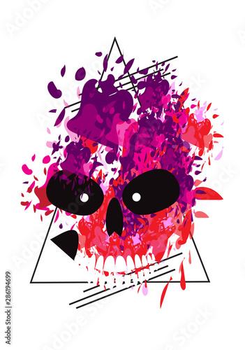Printed kitchen splashbacks Watercolor skull Halloween skull purple watercolor style icon background