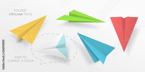 Vector set of colored paper airplanes in different angles Wallpaper Mural