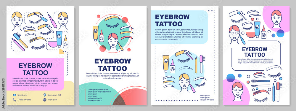 Fototapety, obrazy: Eyebrow tattoo brochure template layout. Permanent makeup. Flyer, booklet, leaflet print design with linear illustrations. Vector page layouts for magazines, annual reports, advertising posters