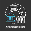Elections chalk concept icon. Organised national conventions idea. Supporter, the voting public gathering. Social meeting, strike, protest action. Vector isolated chalkboard illustration