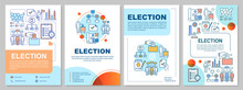 Election Brochure Template Layout. Citizens Ballot. Holding Voting. Flyer, Booklet, Leaflet Print Design, Linear Illustrations. Vector Page Layouts For Magazines, Annual Reports, Advertising Posters
