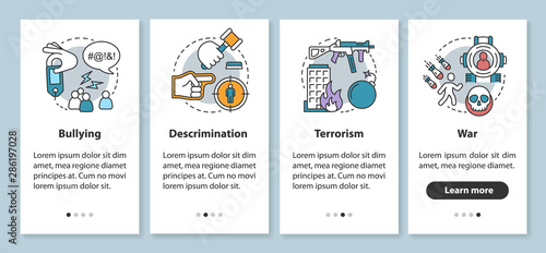Fotografía Social violence onboarding mobile app page screen with linear concepts