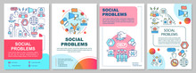 Social Problems Brochure Template Layout. Antisocial Behavior, Conflicts. Flyer, Booklet, Leaflet Print Design With Linear Illustrations. Vector Page Layouts For Magazines, Reports, Advertising Poster