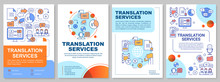 Translation Services Brochure Template Layout. Foreign Language Translation. Flyer, Booklet, Leaflet Print Design With Linear Illustrations. Vector Page Layouts For Magazines, Advertising Posters