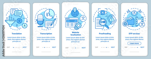 Cuadros en Lienzo  Text services blue onboarding mobile app page screen with linear concepts