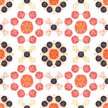 Layered Sand Dollar Seamless Pattern In Orange, Coral And Pink. Mosaic Style, Great For Beach Wedding Decorations, Spa And Resort Fashion, Textiles, Beachy Accessories. And Beach House Decor. Vector.