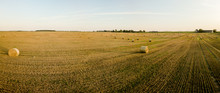 Agricultural Field Full Of Hay Rolls During Warm Summer Sunset