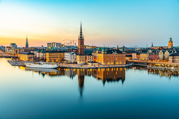 Sunset view of Gamla stan in Stockholm from Sodermalm island, Sweden
