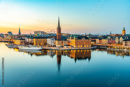 Aluminium Prints Stockholm Sunset view of Gamla stan in Stockholm from Sodermalm island, Sweden
