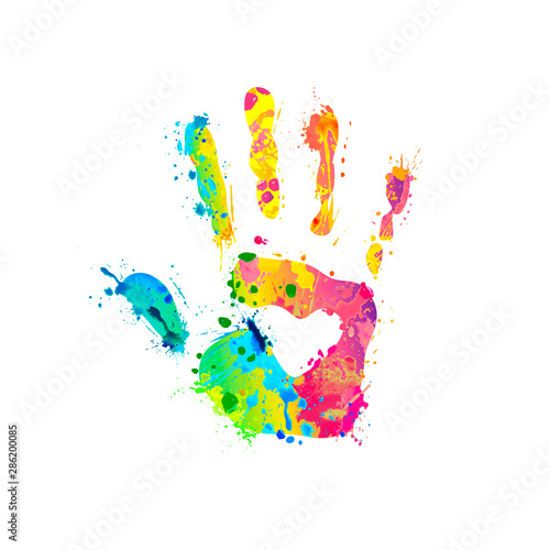 Fototapeta Hand sign of splash paint