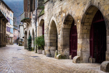 Saint-Antonin-Noble-Val, France - January 08, 2013: Houses, Streets, River And Architecture Of The Village
