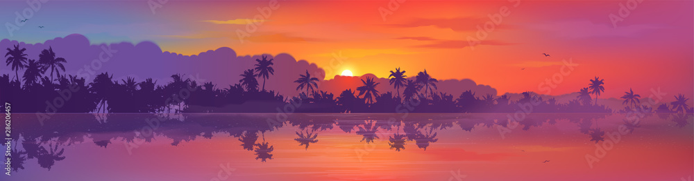 Fototapeta Colorful tropic sunset view to palm trees forest silhouettes with calm ocean water reflection. Vector banner illustration