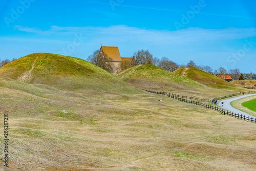 Burial mounds at Gamla Uppsala in Sweden Fototapet