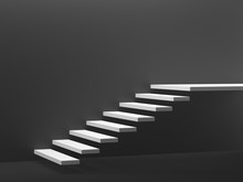 Stairs Isolated On Dark Gray Background. 3d Illustration.