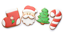 Tasty Christmas Cookies On Whi...