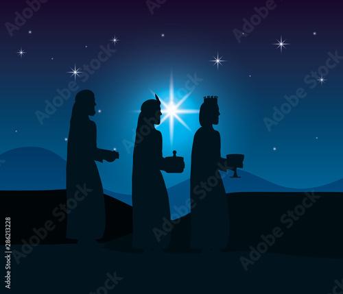 celebration merry christmas manger flat design Canvas Print