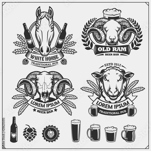 Beer set emblems with ram, horse and sheep Wallpaper Mural