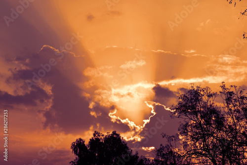 Photo  sky with clouds and sun