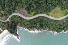 Aerial View Of Br 101, Rio Santos Road, Near Boiçucanga Beach, São Sebastião, North Coast Of São Paulo, Brazil. Great Landscape.