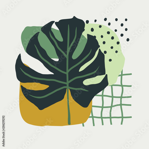 Hand Drawn collage of simple shapes and leaves monstera in Scandinavian style in green colors Canvas Print