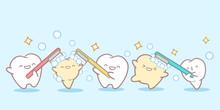 Cartoon Teeth Holding Toothbrush