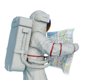 Astronaut Reading A Map