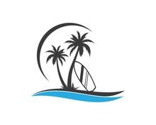 Surfing Icon Logo Vector Illustration