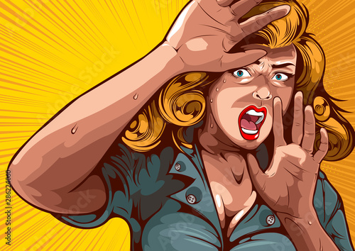 Photo The image of a woman lifting her hand, protecting herself and having extreme fear, comic cover template on yellow background