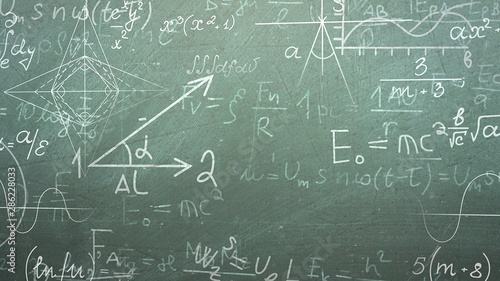 Closeup mathematical formula on blackboard, school background Canvas Print