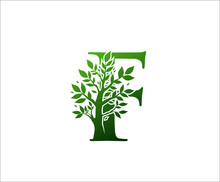 F Logo Letter Created From Tree Branches And Leaves. Tree Letter Design With Ecology Concept..