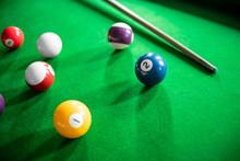 Close Up Of Snooker Or Billiar...