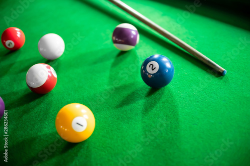 close up of snooker or billiard game on a table. Fototapet