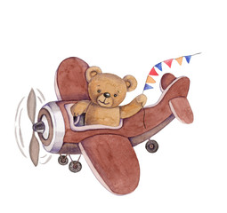 Cute cartoon toy animal teddy bear in plane, watercolor illustration, hand draw, isolated on white.