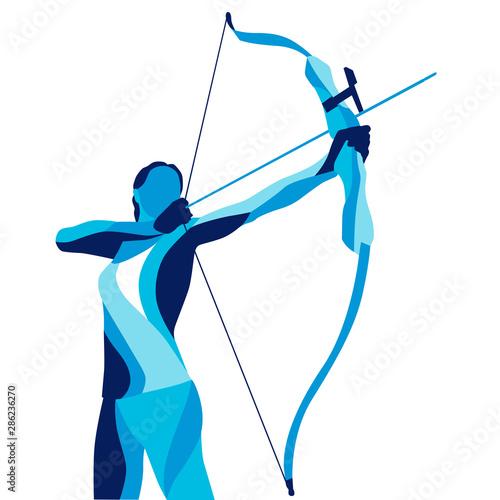 Leinwand Poster Trendy stylized illustration movement, archer, sports archery, line vector silho