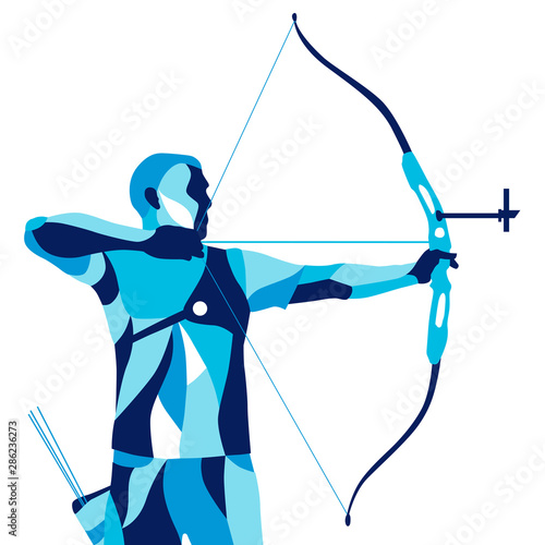Fotografia Trendy stylized illustration movement, archer, sports archery, line vector silho