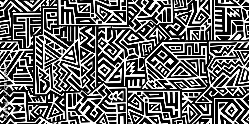 Fototapeta Creative ethnic style vector seamless pattern. Unique geometric vector swatch. Perfect for screen background, site backdrop, wrapping paper, wallpaper, textile and surface design. Trendy boho tile.
