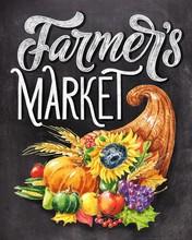 Farmer's Market Chalk Hand Lettering With Colorful Cornucopia On Black Chalkboard Background. Vintage Food Illustration.