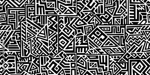 obraz lub plakat Creative ethnic style vector seamless pattern. Unique geometric vector swatch. Perfect for screen background, site backdrop, wrapping paper, wallpaper, textile and surface design. Trendy boho tile.