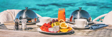 Vacation Breakfast Table At Luxury Restaurant Or Hotel Room Panoramic Banner. Romantic Cruise Honeymoon Travel Holiday In Maldives Or Tahiti.