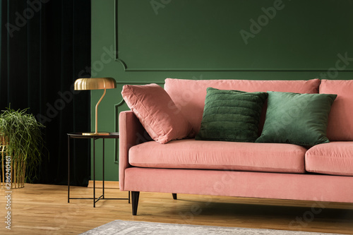 Fotografie, Obraz  Living room glamour design, pink and green interior