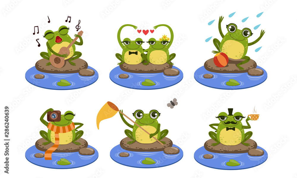 Fototapety, obrazy: Green Funny Frog Characters Set, Cute Humanized Amphibian Animal in Different Situations Vector Illustration
